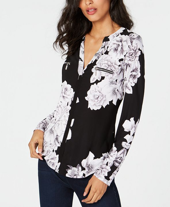 INC International Concepts INC Printed Zip-Detail Top, Created for Macy's