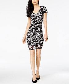 I.N.C. Floral-Print Ruched Dress, Created for Macy's