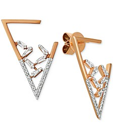 Baguette Frenzy™ Diamond Triangle Drop Earrings (3/8 ct. t.w.) in 14k Rose Gold