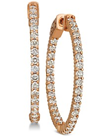 Le Vian® Diamond In & Out Hoop Earrings (2 ct. t.w.) in 14k Rose Gold