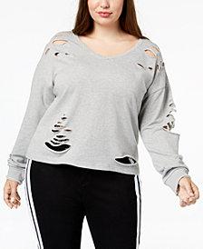 Say What? Trendy Plus Size Destructed Sweatshirt