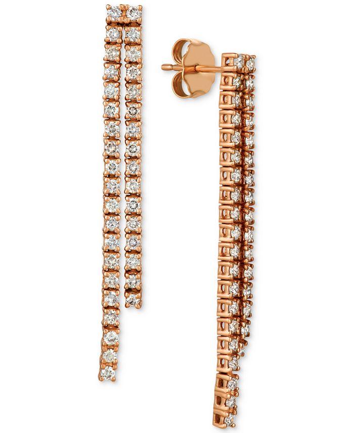 Le Vian - Diamond Pavé Linear Drop Earrings (1 ct. t.w.) in 14k Rose Gold
