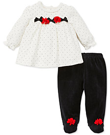 Little Me Baby Girls 2-Pc. Velour Printed Tunic & Pants Set