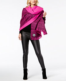 DKNY Houndstooth Plaid Oversized Woven Wrap, Created for Macy's