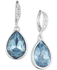 Givenchy Silver-Tone Crystal & Stone Drop Earrings