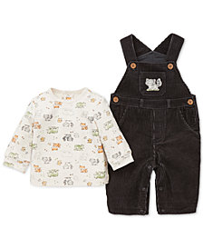Little Me Baby Boys 2-Pc. Cotton Fox-Print T-Shirt & Corduroy Overalls Set