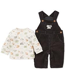 Little Me Baby Boys 2-Pc. Cotton Fox-Print T-Shirt & Corduroy Overalls Set