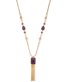 "Nine West Stone & Tassel 36"" Pendant Necklace"