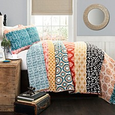 Bohemian Stripe 3-Piece Reversible Full/Queen Quilt Set
