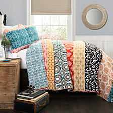 Bohemian Full/Queen Stripe Quilt 3Pc Set