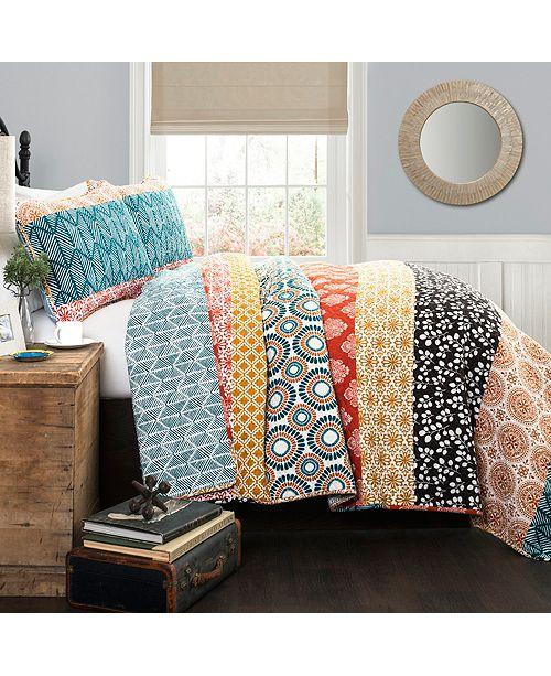 Lush Decor Bohemian Full/Queen Stripe Quilt 3Pc Set