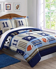 My World Denim and Khaki Sports Twin Comforter Set