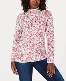Karen Scott Floral-Print Mock-Turtleneck Top, Created for Macy's