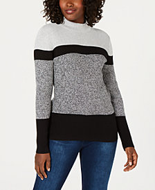 Karen Scott Cotton Colorblocked Mock-Neck Sweater, Created for Macy's