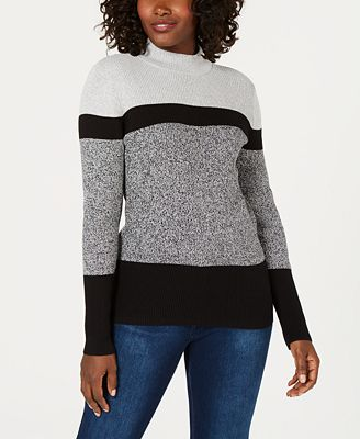Karen Scott Cotton Colorblocked Mock Neck Sweater Created For