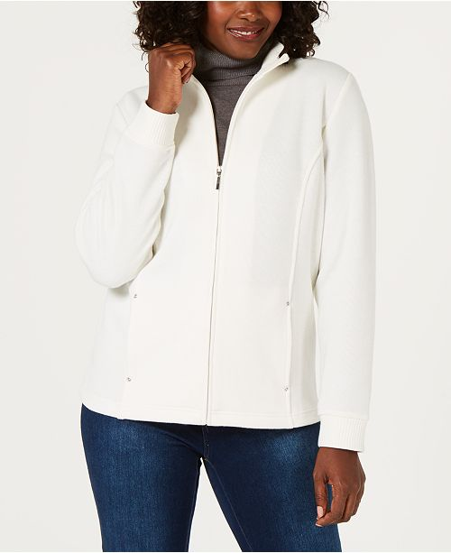 Karen Scott Sport French Terry  Zipper Mock-Neck Jacket, Created for Macy's