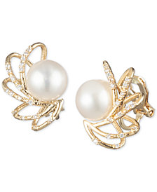 Carolee Gold-Tone Crystal & Freshwater Pearl (10mm) Caged Spray Clip-On Stud Earrings