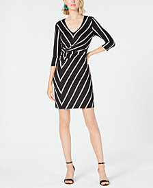 I.N.C. Printed Twist-Front Dress, Created for Macy's