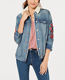 Style & Co Flower-Embroideted Trucker Jacket, Created for Macy's