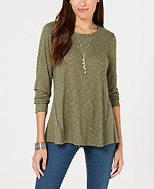 Petite Waffle-Knit Open-Trim Top, Created for Macy's