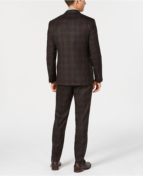 36ea3b3d35 Men's Slim-Fit Stretch Dark Brown/Light Blue Plaid Wool Suit