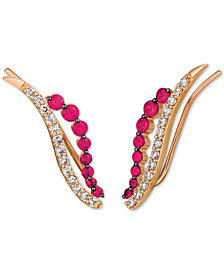 Le Vian® Ruby (3/4 ct. t.w.) & Diamond (1/2 ct. t.w.) Ear Climbers in 14K Rose Gold