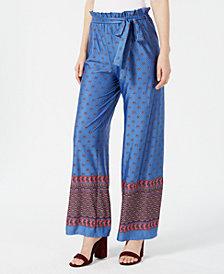Monteau Petite Belted Border-Print Pants