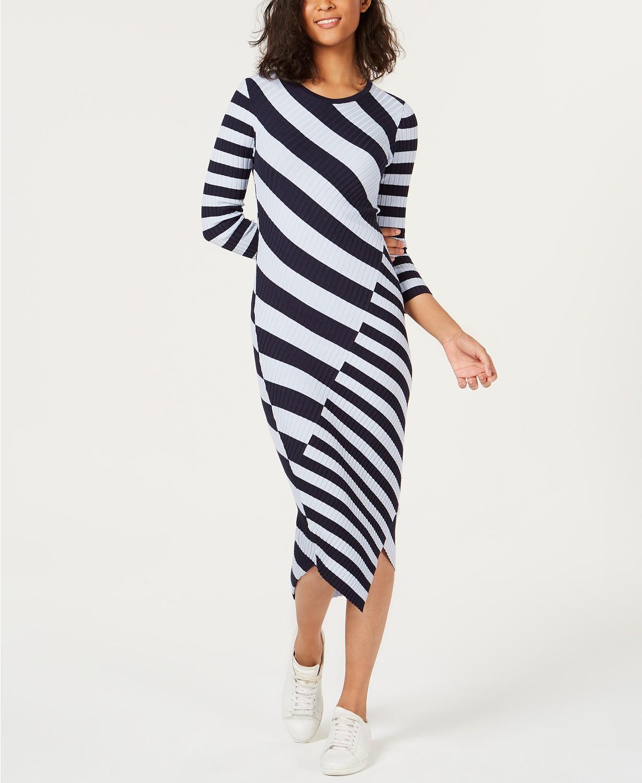 2a9081d4af MACY S-Bar III Striped Asymmetrical Sweater .