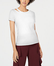 Bar III Cotton Cutout-Neck Top, Created for Macy's