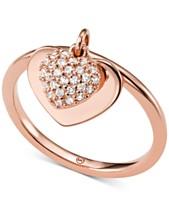 49e24559d9eef Michael Kors Women s Kors Love CZ Pavé Heart Sterling Silver Ring