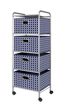 4-Drawer Storage Cart, Blue Bins
