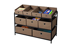 Deluxe Storage Rack with Beige Bins