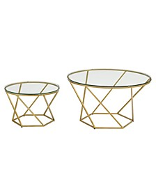 Geometric Glass Coffee Table Set with Gold Base