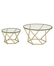 Bohemian Geometric Glass Nesting Coffee Table Set- Glass/Gold