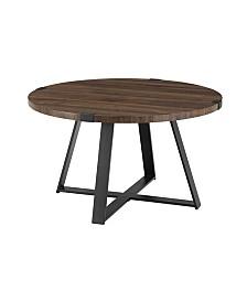 "30"" Metal Wrap Round Coffee Table - Dark Walnut/Black"