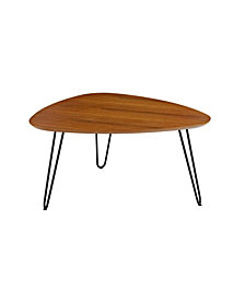"32"" Mid Century Hairpin Leg Wood Coffee Table - Walnut"