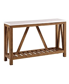 """52"""" Rustic A-Frame Entry Table with White Faux-Marble Top and Walnut Base"""