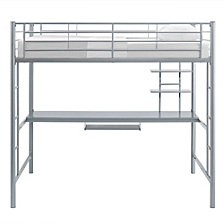 Premium Metal Full Size Loft Bed with Wood Desk - Silver