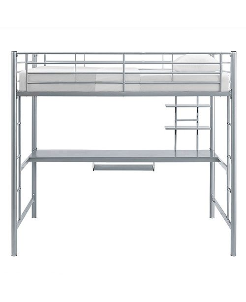 Walker Edison Premium Metal Full Size Loft Bed with Wood Workstation - Silver