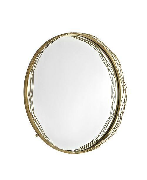 """Walker Edison 32"""" Round Mirror with Wire Nest Frame - Gold"""
