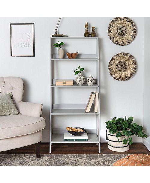Walker Edison 55 Wood Ladder Bookshelf Grey