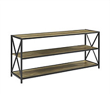 "60"" Urban Industrial X-Frame Metal and Wood Bookcase - Rustic Oak"