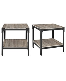 Angle Iron Rustic Wood End Table, Set of 2