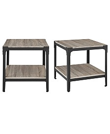 """Set of 2 20"""" Rustic Wood and Metal Angle Iron End Tables - Driftwood"""