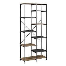 "68"" Urban Industrial Multi-Level Mesh and Wood Bookshelf - Rustic Oak"