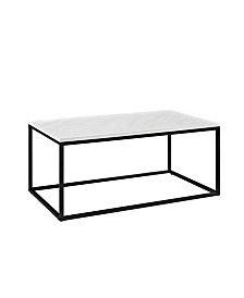 "42"" White-Faux Marble Mixed Material Coffee Table with Black Base"