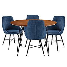 Modern Round Hairpin 5-Piece Dining Set - Walnut/Blue