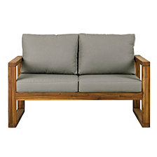 Open Side Love Seat with Cushions - Brown