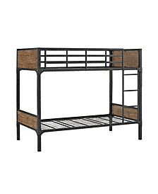 Twin over Twin Rustic Wood Bunk Bed - Brown