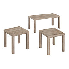 Wood Coffee End Side Table Set, set of 3 - Driftwood